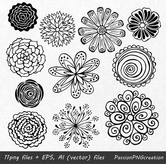Hand Drawn Flowers clipart, Flower element, Flower Silhouettes, PNG, EPS, AI, vector, Flowers, clip art, For Personal and Commercial Use