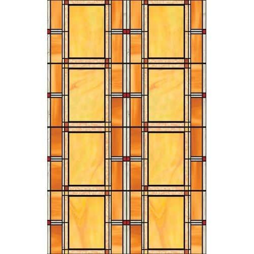 Brewster 346-0437 Arts And Crafts Stained Glass Window Film, Orange (Vinyl)