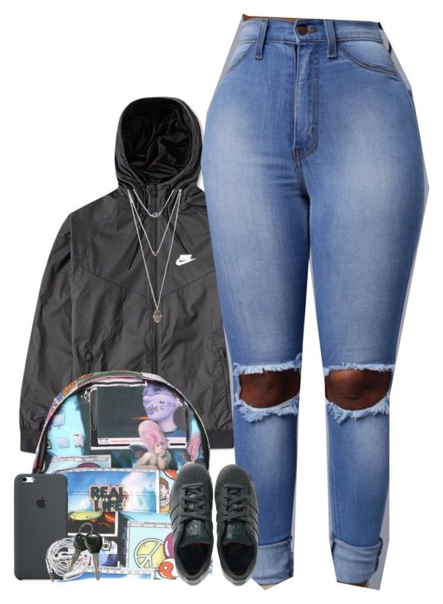 """"""""""" by mxnvt ❤ liked on Polyvore featuring NIKE, Jeremy Scott, adidas, Urbanears and Wet Seal"""