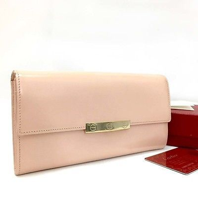 100% Authentic Cartier Love Collection Pink Leather Bifold Long Wallet /534