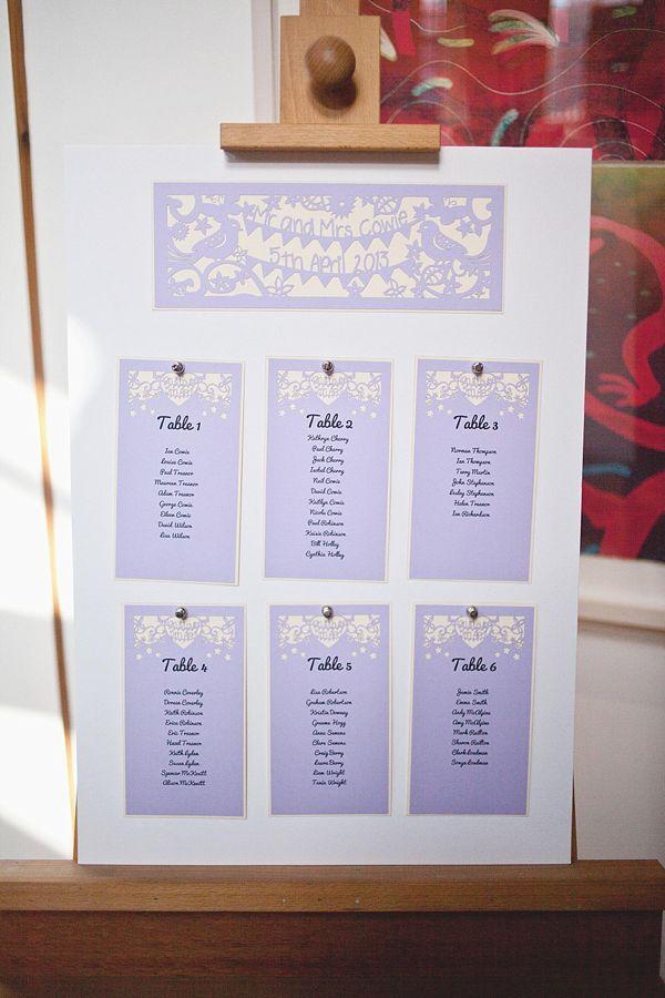 Lilac table plan by Pogofandango. Photography by www.sallytphotography.com
