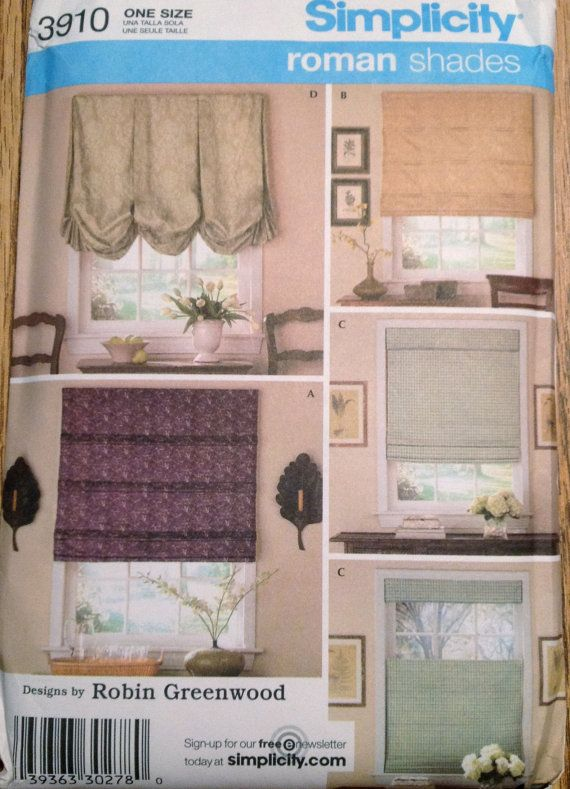 Simplicity 3910 Roman Shades Pattern Window 5 Designs By Robin Greenwood Home Decor Sewing Pattern By