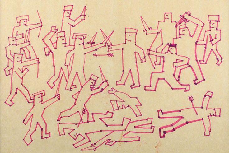 Рисунок Виктора Цоя с битвой квадратноголовых человечков продали с аукциона
