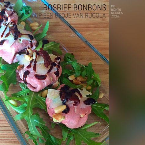 Hartige bonbons met rosbief en truffelmayonaise. (rosbief, rucola sla, pijnboompitten, verse basilicum, Parmezaanse kaas, truffelmayonaise, mayonaise, truffelaroma, balsamico crème)