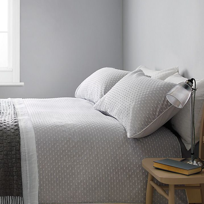 Buy John Lewis Croft Collection Bethany Standard Pillowcase, Grey Online at johnlewis.com