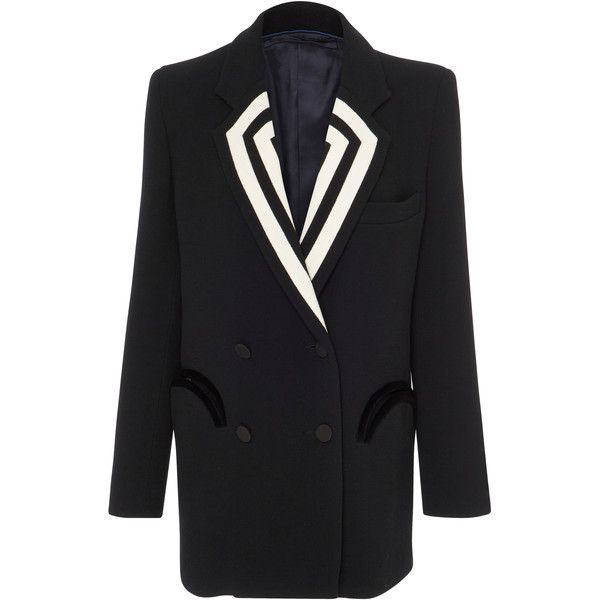Blazé Milano Piped Double-Breasted Blazer (6.699.435 COP) ❤ liked on Polyvore featuring outerwear, jackets, blazers, black, velvet blazer, velvet jackets, double breasted blazer, striped jacket and stripe jacket