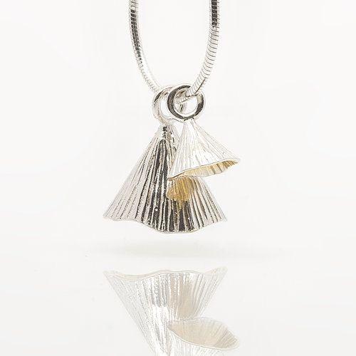 Silver Irish Designer Pendant - Two piece Shell Cone