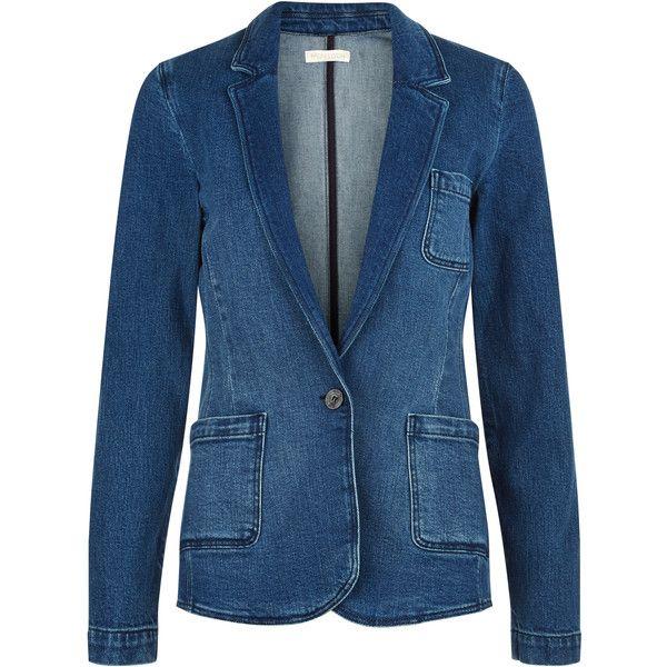 Monsoon Alana Denim Blazer Jacket ($61) ❤ liked on Polyvore featuring outerwear, jackets, blazers, denim jacket, multi pocket jacket, blue jackets, blue blazer and denim blazer