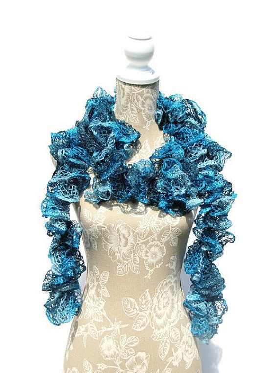 Turquoise Frilly Ruffled Scarf Sashay by CRAFTCREATIONSBYROSE
