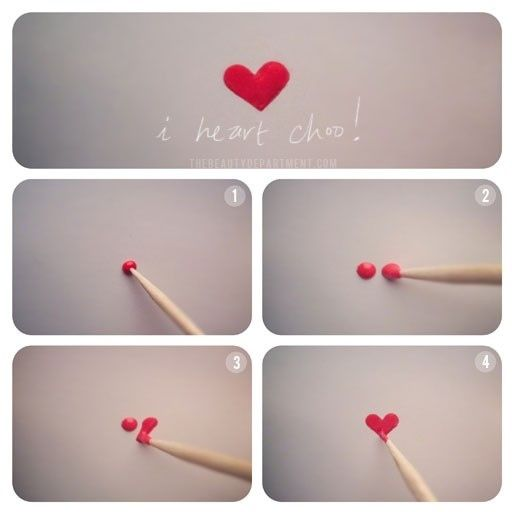 Easily paint a heart with a toothpick.