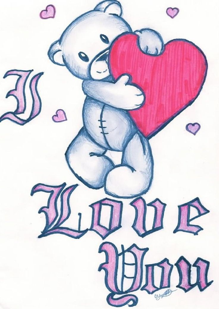 Easy cute i love you drawings