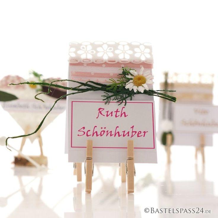 Tischkarten Hochzeit selber machen! Tischkarten basteln im Diy Trend - für Familienfeste Im Landhausstil und shabby chicin decenten Farben Die Mini Holzwäsch