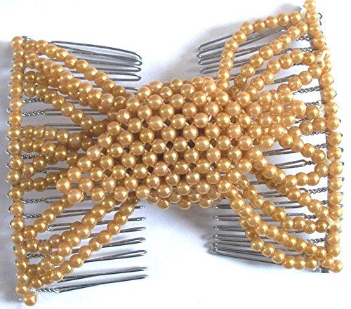 Casualfashion Unique Design 8 Colors EZ Stretching Double Combs Beaded Hair Clips Fabulous Hairstyles Instantly for Women Girls (Champagne)