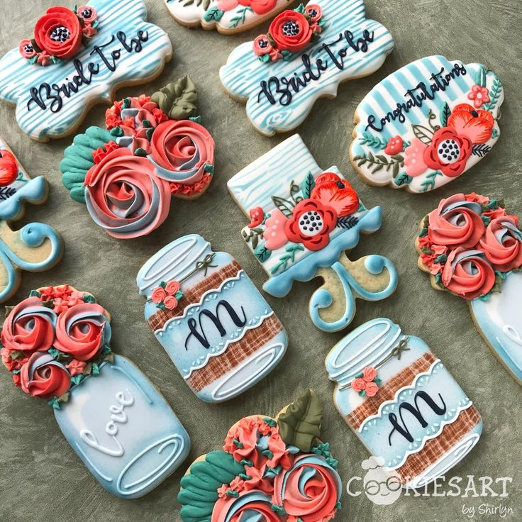 Flower Themed Cookies for a Bridal Shower