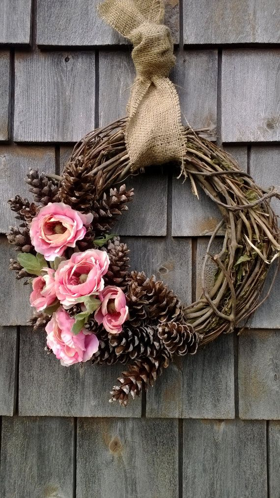 summer wreath, spring wreath, floral wreath, pinecone wreath    READY TO SHIP!!!    What a beautiful, natural combination. Pink Ranunculus, Maine