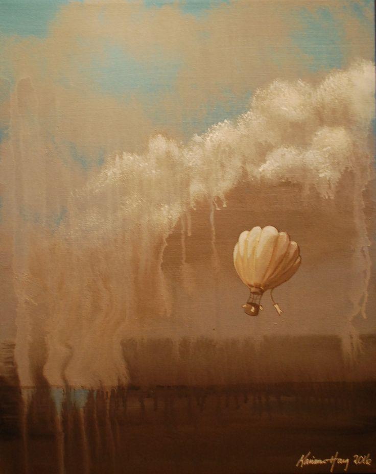 Ballongferd i abstrakt landskap.