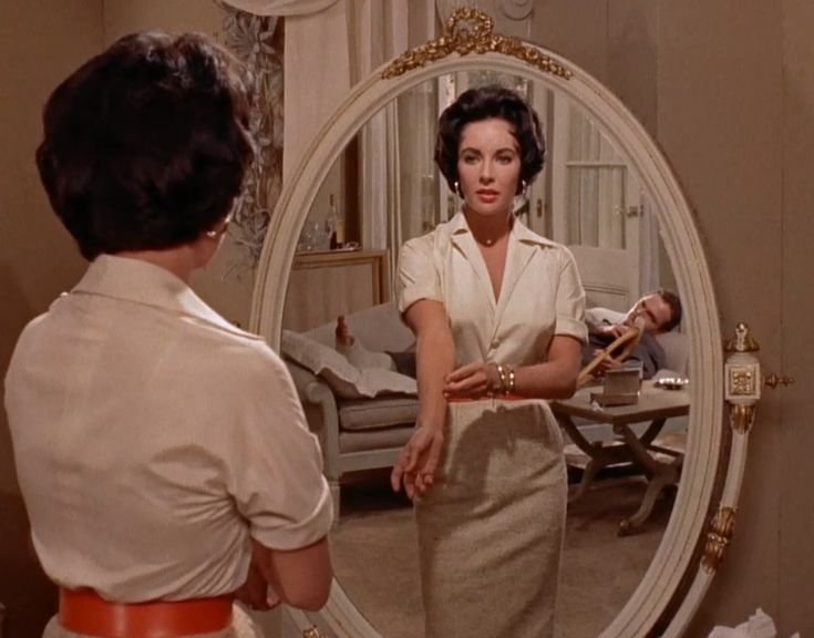 Inspiration from Elizabeth Taylor's form-fitting silhouette with a pop of colour- from Cat on a Hot Tin Roof.