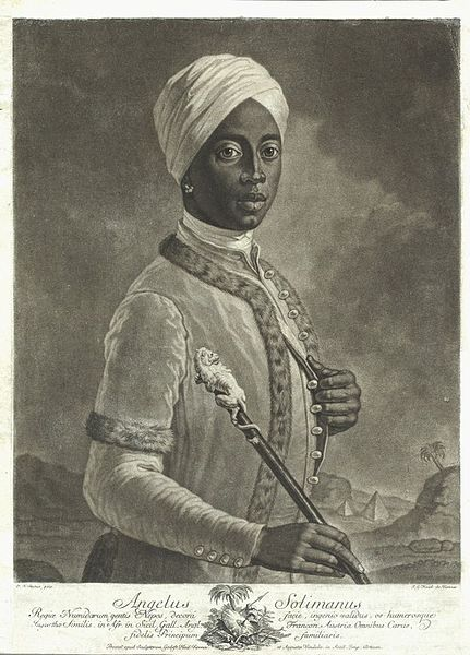 An Austrian  named Angelo Soliman (1720-1796), who is said to be a native of Central Africa where he was kidnapped at a young age and later presented in 1734 to Prince Georg Christian.  Soliman served as Georg's   confidant, however, as he grew older, Soliman became fluent in 6 languages, was a master swordsman, navigator and renowned music composer...