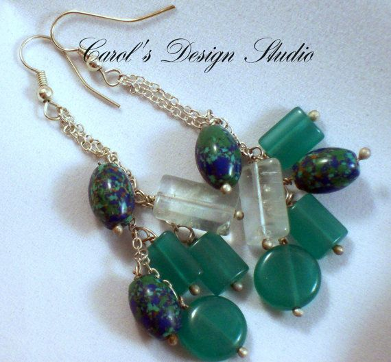 long beautiful earrings made of Lapis Lazuli, clear and green natural crystal. These beautiful stones dance from sterling silver chains. #bestofEtsy #etsy #handmade #design #gifts #thankyou