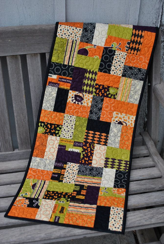 Simple pattern always looks great  Halloween Monster Bash Tablerunner by cachecreekquilts on Etsy