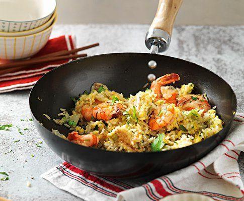 Riso fritto con cavolo cinese e gamberetti