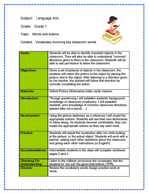 Language Arts Lesson Plan - Words and action using vocabulary words
