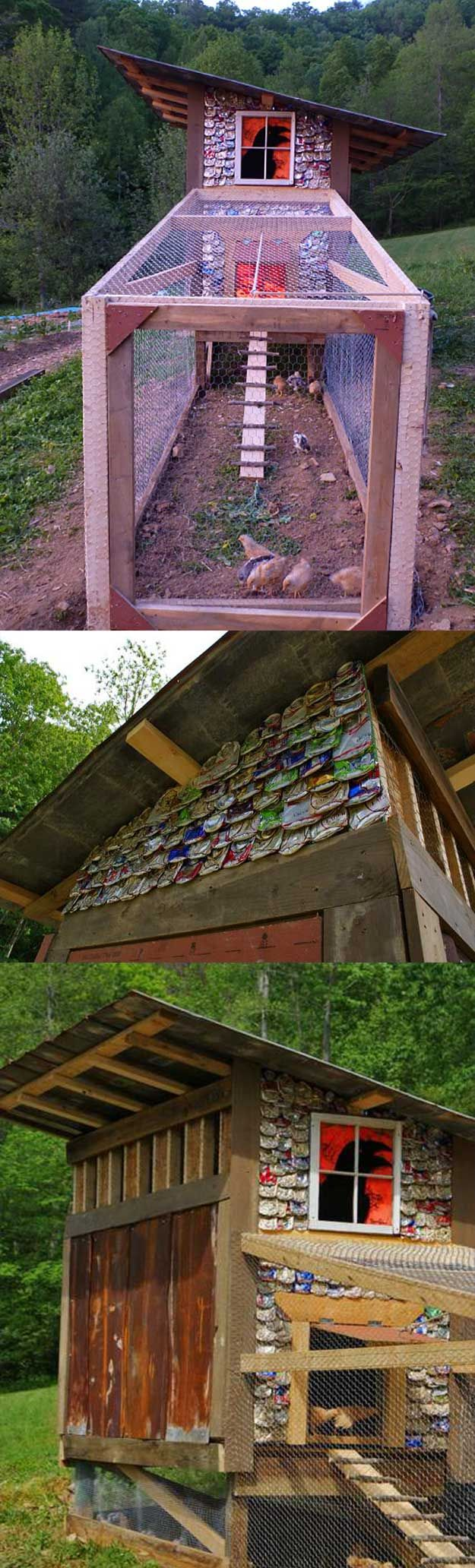 DIY chicken coop Crushed cans for siding!! I love it!!!