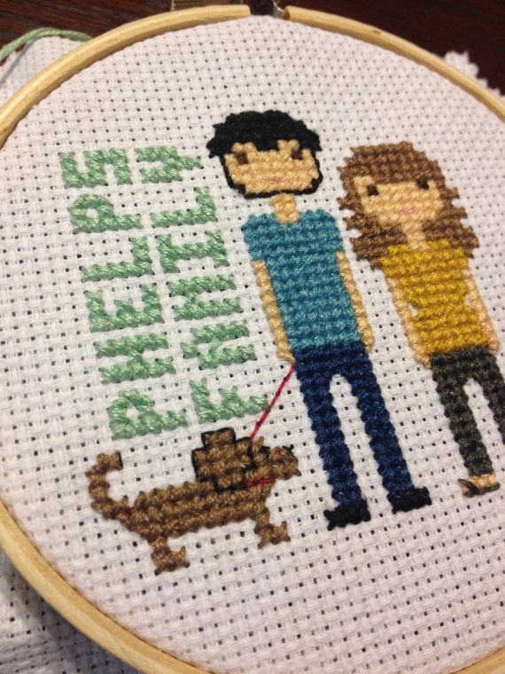 Customized Cross Stitch Family Portrait custom by LittleCornerNest