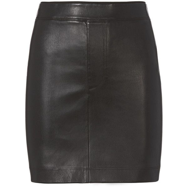 Black Stretch Leather Skirt (11,460 MXN) ❤ liked on Polyvore featuring skirts, mini skirts, black, leather miniskirt, stretch leather skirt, genuine leather skirt, stretch skirts and helmut lang skirt