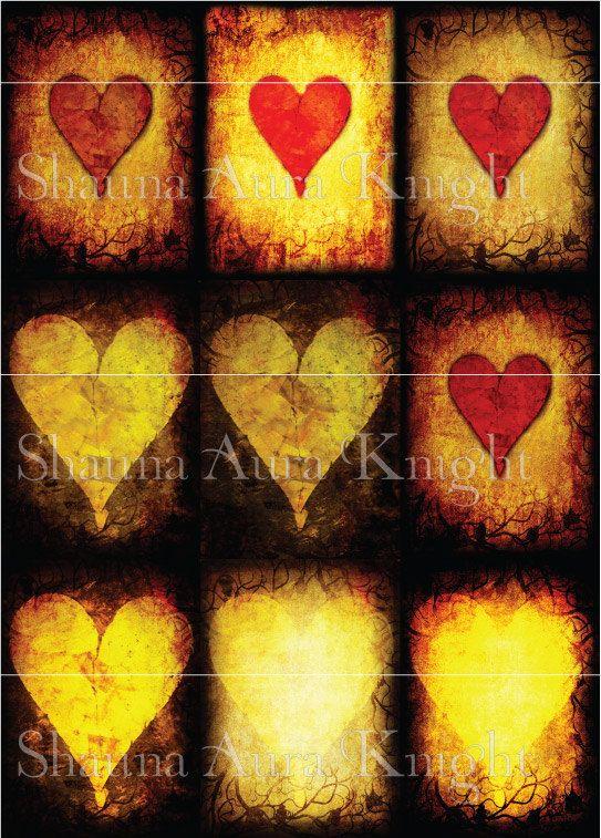 Valentine Grunge Hearts ATC 2.5 x 3.5 Inch by ShaunaAuraKnight