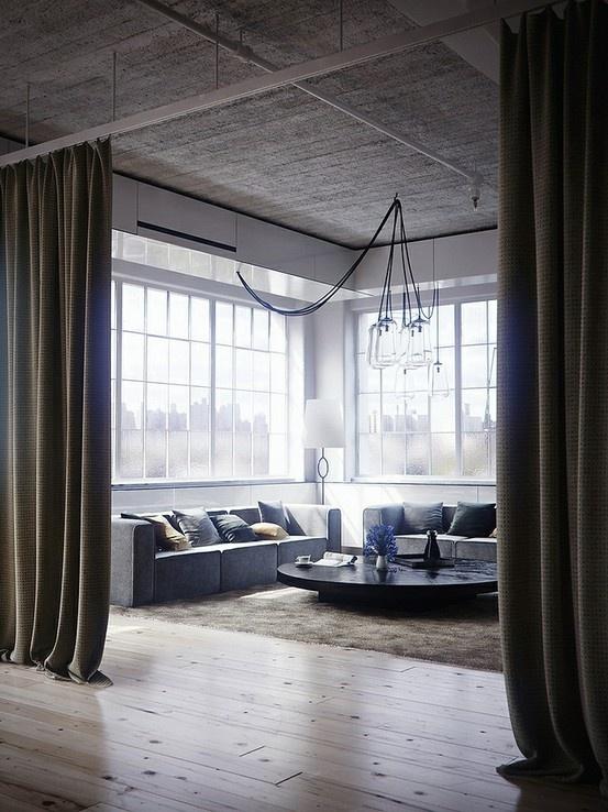 Curtain Room Divider Loft Living Home Loft Style