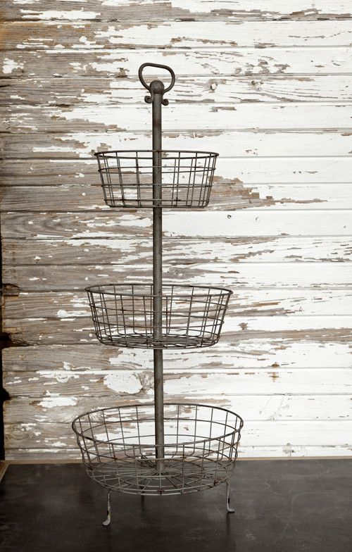 "The Isabel Farmhouse Basket is a rustically beautiful three tier metal farmhouse basket. We are forever on the hunt for baskets....especially the special kind that have a million gorgeous uses!  This three-tiered-treasure sure fits the bill!  Farmhouse Basket measures 14"" x 35"""