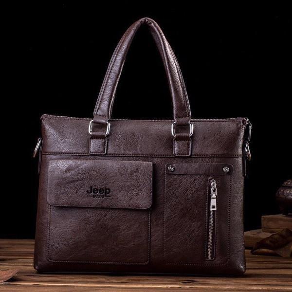 Famous Designer JEEP BULUO Brands Men Business Briefcase PU Leather Shoulder Bags For 14 Inch Laptop Bag big Travel Handbag 6013 - Best price in 10minus