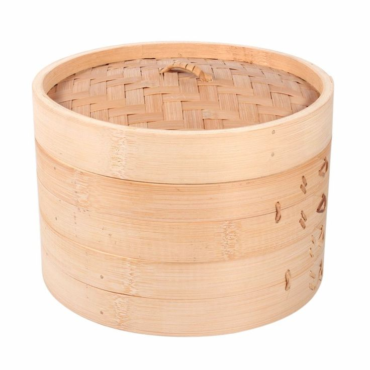 "8"" Traditional Bamboo Steamer Basket 2 Tiers"