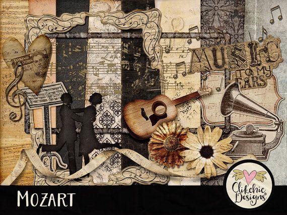 Music Digital Scrapbook Clip Art Kit - Mozart - Musical Ephemera Themed Embellishments & Digital Papers by ClikchicDesign #photoshop #graphic #design by Clikchic Designs