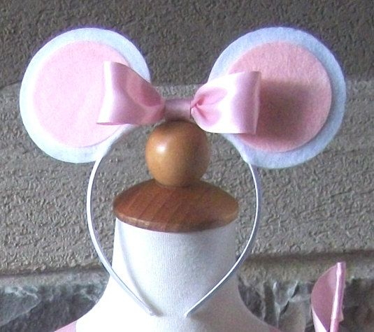 Mouse Ear Clips or Headband with Bow by JustaLittleSassShop