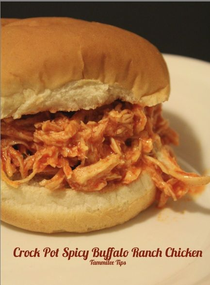 Crock Pot Spicy Buffalo Ranch Chicken! Super easy 3 ingredient Crock Pot Recipe perfect for Fall!