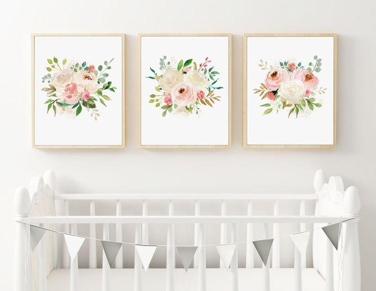 Floral Watercolor Nursery Prints, Set of 3 Prints, Watercolor Roses, Boho Nursery Art, PRINTED ART, Pink Peonies, Ivory Roses, Cream Floral by DuneStudio on Etsy