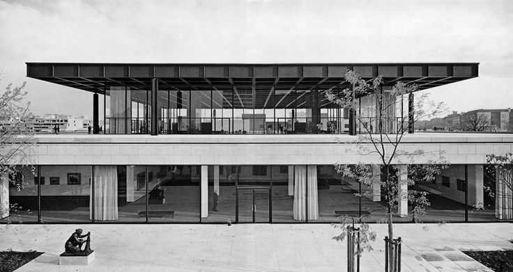View from the garden patio of the Neue Nationalgalerie in Berlin by Ludwig Mies van der Rohe.