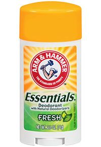 ARM & HAMMER Essentials™ Solid Deodorant. Baking Soda and natural plant extracts to absorb and fight odor. Essentials™ Deodorant does not contain aluminum, parabens, colorants or animal-derived ingredients.