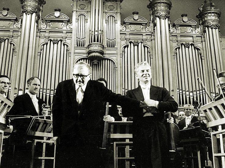Herbert von Karajan with Dmitri Shostakovich