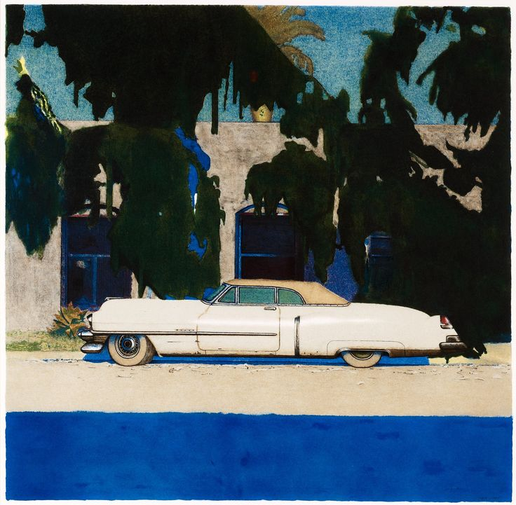 """John-E Franzén Born 1942 """"Venice California"""". (d) Lithograph in colours, 1999, signed in pencil and numbered P.T. L. 49,5 x 50 cm."""