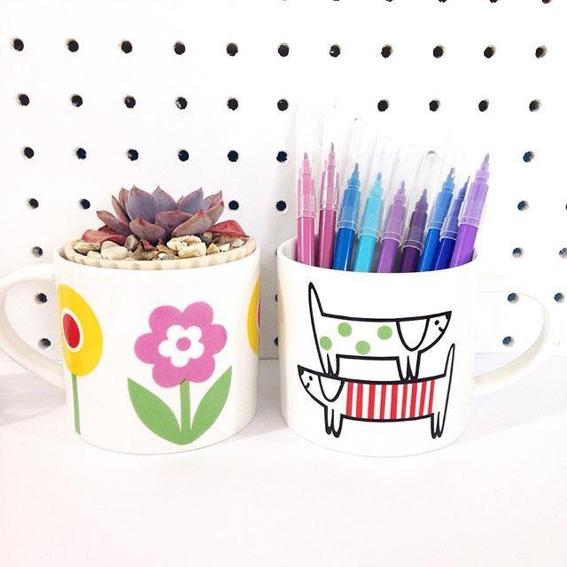 I love using mugs in different ways - succulents and pen pots! Mugs @makeinternational and @johnlewisuk #janefostermug