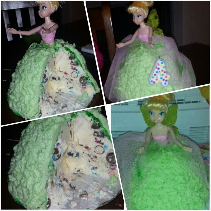 Miss As 4th Birthday Cake. Tinkerbell Dolly Varden.  Vanilla Ice Cream, maltesers, mini mnm mixed lollies and buttercream frosting