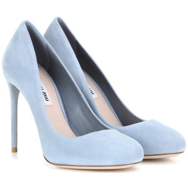 Miu Miu Suede Pumps (£435) ❤ liked on Polyvore featuring shoes, pumps, heels, sapatos, zapatos, blue, heel pump, miu miu shoes, suede shoes and suede leather shoes