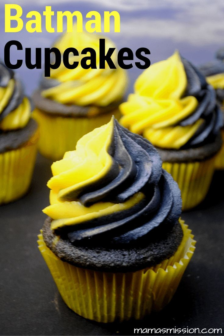 Hosting a Batman vs. Superman party? These fun Black and Yellow swirled Batman cupcakes can also be filled, and will be the super hero of the party!