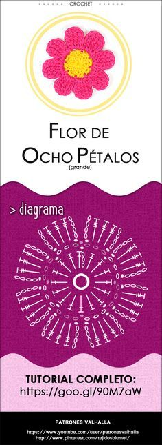 #Flor de Ocho Pétalos a #Crochet 1 (grande) | #PatronesValhalla