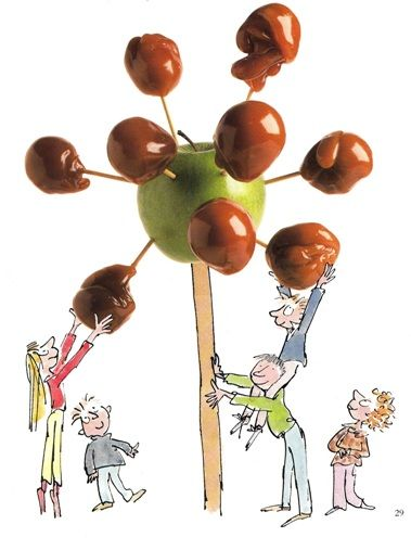 Toffee apple trees. Food ideas from Roald Dahl's 'Revolting Recipes.'
