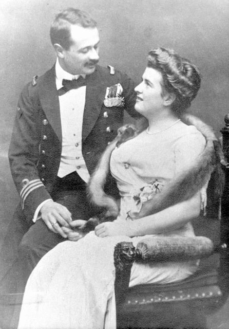 Georg von Trapp with his first wife, Agathe in 1910.    http://upload.wikimedia.org/wikipedia/en/8/8f/Whitehead-Agather_1909circa.jpg