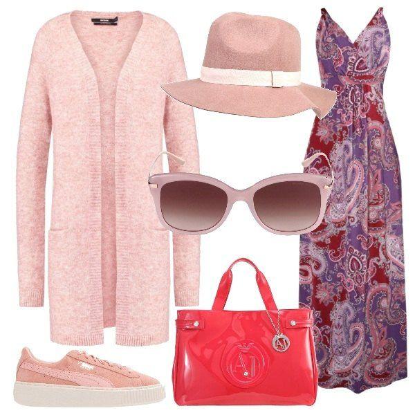 Una passeggiata in una tiepida giornata di primavera. con un vestito lungo senza maniche, da indossare con un cardigan lungo e delle sneakers nelle tonalità del rosa. la borsa ha un bel colore vivace e per completare si possono aggiungere un cappello panama e un paio di occhiali.